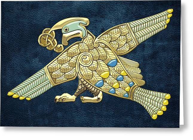 Treasure Trove Greeting Cards - Sacred Celtic Bird on Blue Greeting Card by Serge Averbukh