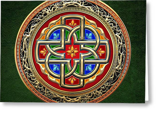 Treasure Trove Greeting Cards - Sacred Celtic Cross on Green Greeting Card by Serge Averbukh