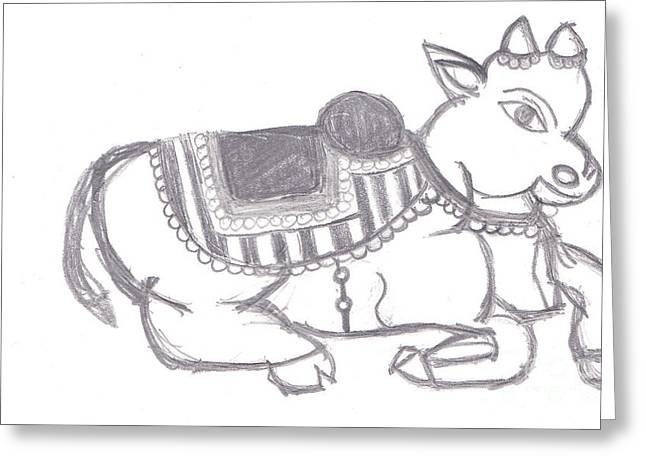 Sacred Cow Greeting Card by Melissa Vijay Bharwani