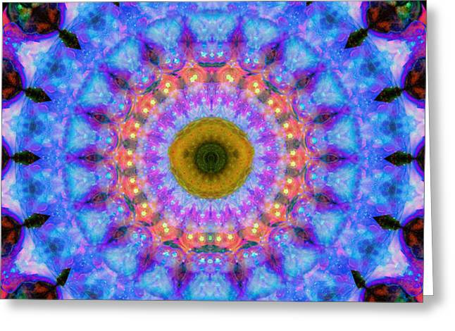 Chanting Greeting Cards - Sacred Crown - Mandala Art By Sharon Cummings Greeting Card by Sharon Cummings