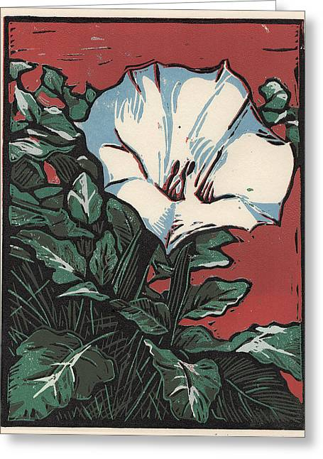 Linocut Paintings Greeting Cards - Sacred Datura Greeting Card by Manny Mellor