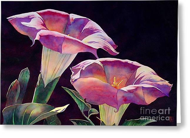 Morning Glories Greeting Cards - Sacred Daturas Greeting Card by Robert Hooper