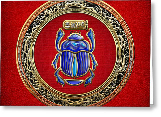 Sacred Digital Art Greeting Cards - Sacred Egyptian Scarab Greeting Card by Serge Averbukh