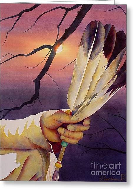 Ritual Greeting Cards - Sacred Feathers Greeting Card by Robert Hooper