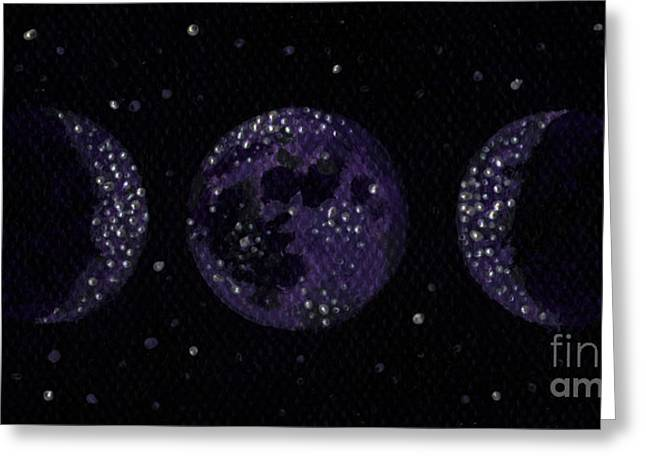 Sacred Space Greeting Cards - Sacred Feminine Moon in Grape Sky Greeting Card by Shelley  Irish