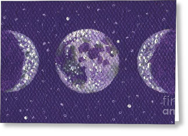 Shelley Irish Greeting Cards - Sacred Feminine Moon in Lavender Sky Greeting Card by Shelley  Irish