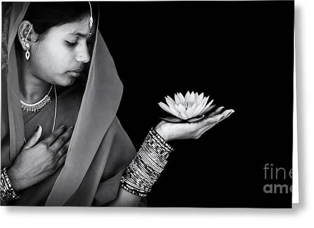 Ethnic Greeting Cards - Sacred Flower Greeting Card by Tim Gainey