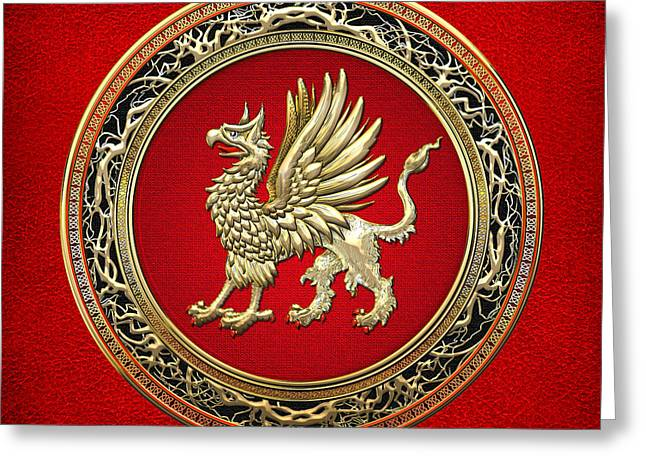 Sacred Digital Art Greeting Cards - Sacred Gold Griffin on Red Leather  Greeting Card by Serge Averbukh