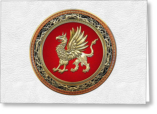 Sacred Digital Art Greeting Cards - Sacred Gold Griffin on White Leather  Greeting Card by Serge Averbukh