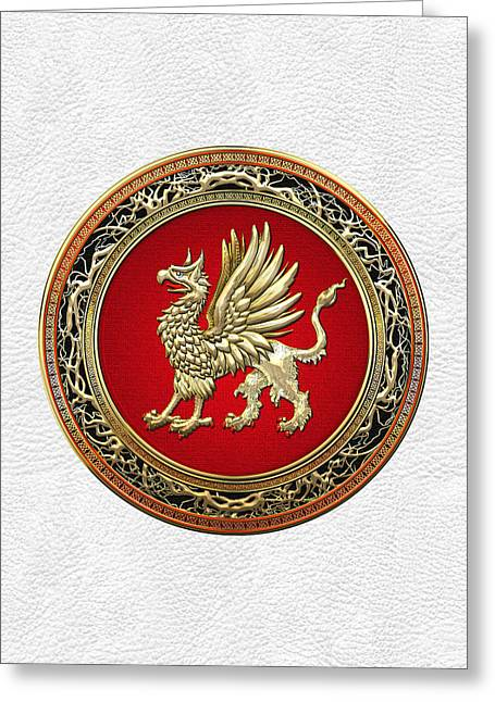 Sacred Gold Griffin On White Leather  Greeting Card by Serge Averbukh