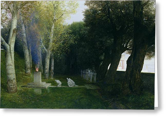 Temple Photographs Greeting Cards - Sacred Grove, 1886 Oil On Panel Greeting Card by Arnold Bocklin