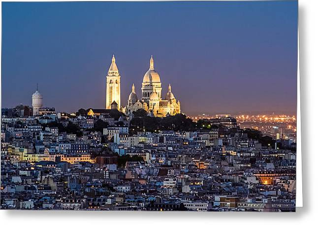 Bute Greeting Cards - Sacred Heart at the summit of Montmartre Paris Greeting Card by Pierre Leclerc Photography
