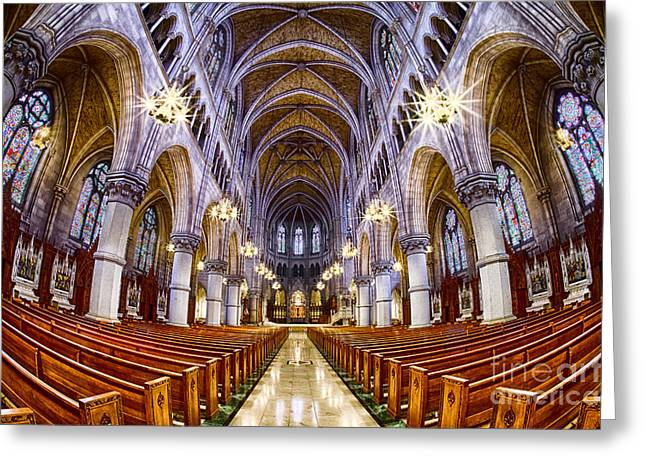 Sacred Heart Basilica Greeting Card by Jerry Fornarotto