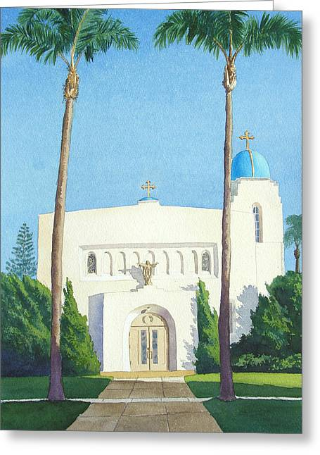 Sacred Paintings Greeting Cards - Sacred Heart Church Coronado Greeting Card by Mary Helmreich