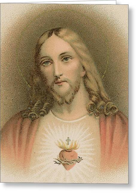 The Church Greeting Cards - Sacred Heart Greeting Card by French School