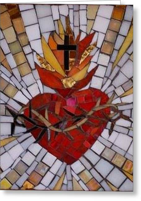 Religious Mosaic Mixed Media Greeting Cards - Sacred Heart Greeting Card by Julie Mazzoni