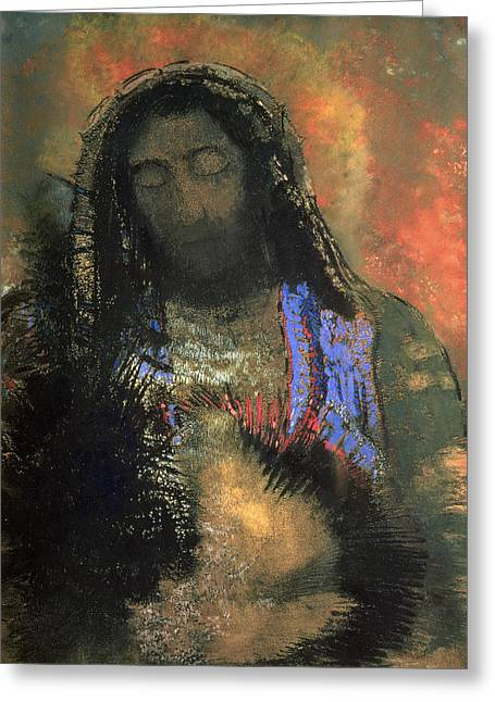 Christian Pastels Greeting Cards - Sacred Heart Greeting Card by Odilon Redon