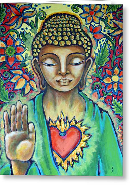 The Void Paintings Greeting Cards - Sacred Heart of Buddha Greeting Card by Shelley Bredeson