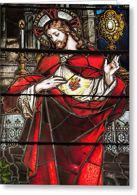 Sacred Heart Greeting Cards - Sacred Heart of Jesus Greeting Card by Bonnie Barry
