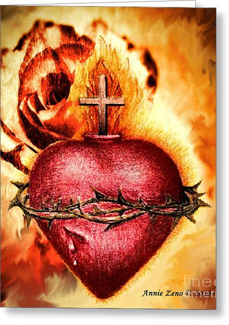 Christain Cross Greeting Cards - Sacred Heart Of Jesus Christ With Rose Greeting Card by Annie Zeno