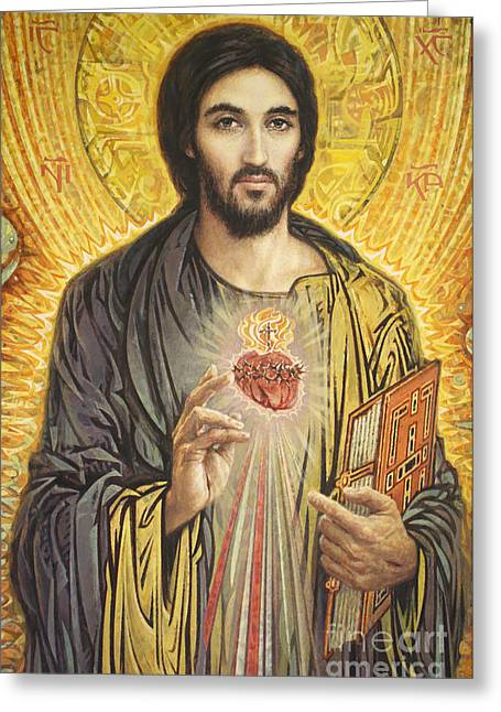 Icon Paintings Greeting Cards - Sacred Heart of Jesus olmc Greeting Card by Smith Catholic Art