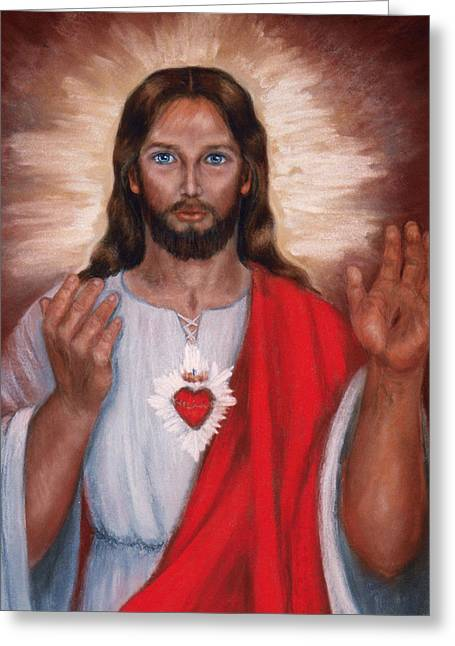 Sacred Pastels Greeting Cards - Sacred Heart of Jesus Greeting Card by Terry Sita