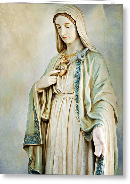 Immaculate Heart Greeting Cards - Sacred Heart of Mary Greeting Card by Karen Zucal Varnas