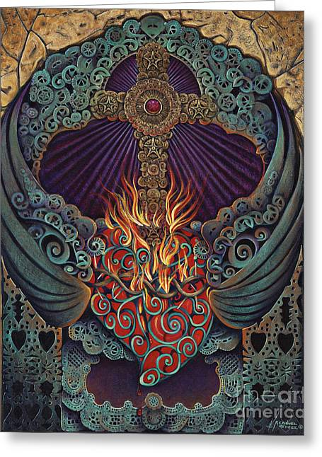 Sacred Religious Art Greeting Cards - Sacred Heart Greeting Card by Ricardo Chavez-Mendez