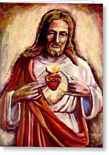 St Margaret Paintings Greeting Cards - Sacred Heart Greeting Card by Sheila Diemert