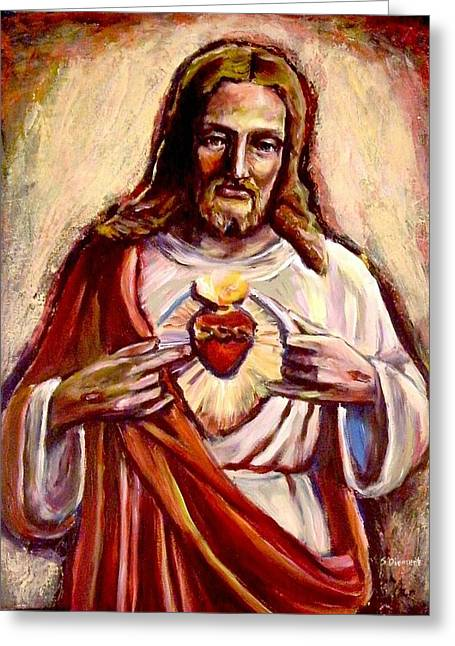 Catholic work Paintings Greeting Cards - Sacred Heart Greeting Card by Sheila Diemert