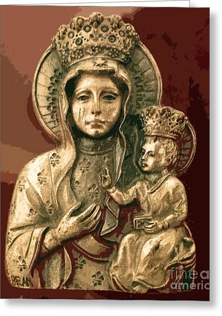 Spiritual Portrait Of Woman Greeting Cards - Sacred Icon Greeting Card by Patricia Januszkiewicz