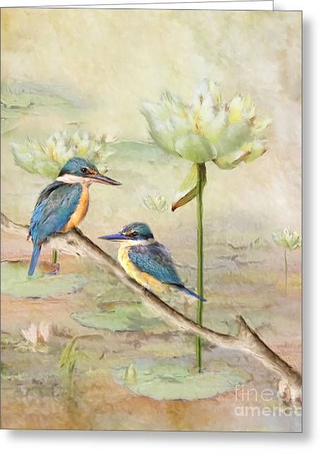 Sacred Digital Art Greeting Cards - Sacred Kingfisher Greeting Card by Trudi Simmonds