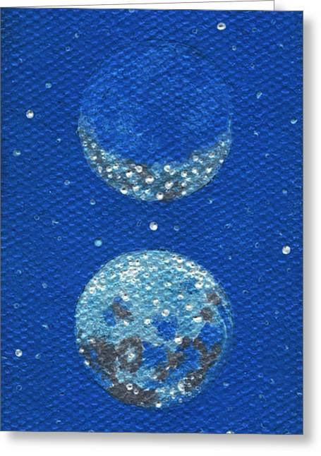 Shelley Irish Greeting Cards - Sacred Masculine Moon in Robins Egg Sky Greeting Card by Shelley  Irish