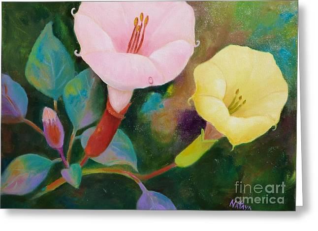 Datura Paintings Greeting Cards - Sacred Medicine Greeting Card by Nataya Crow