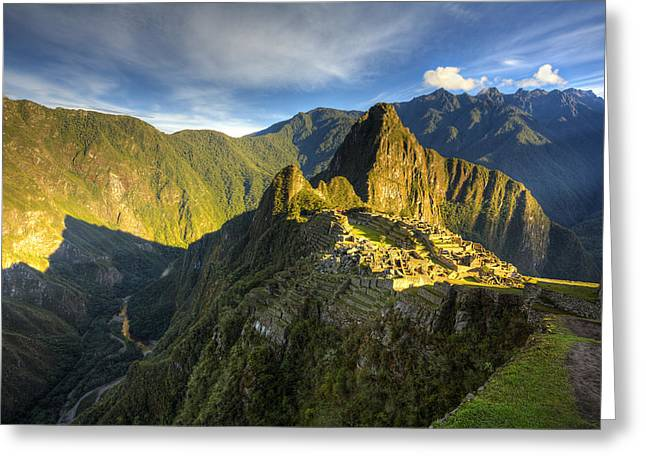 Machu Picchu Greeting Cards - Sacred Mountain Greeting Card by Alexey Stiop