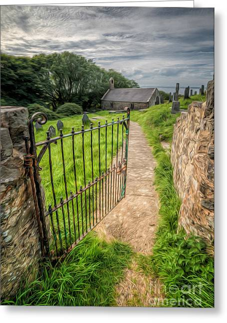 North Wales Greeting Cards - Sacred Path Greeting Card by Adrian Evans