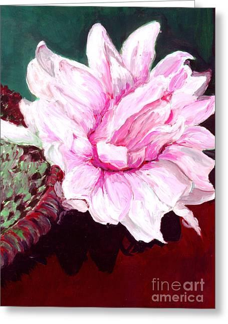 Salmon Paintings Greeting Cards - Sacred Pink Lotus  Greeting Card by Mukta Gupta