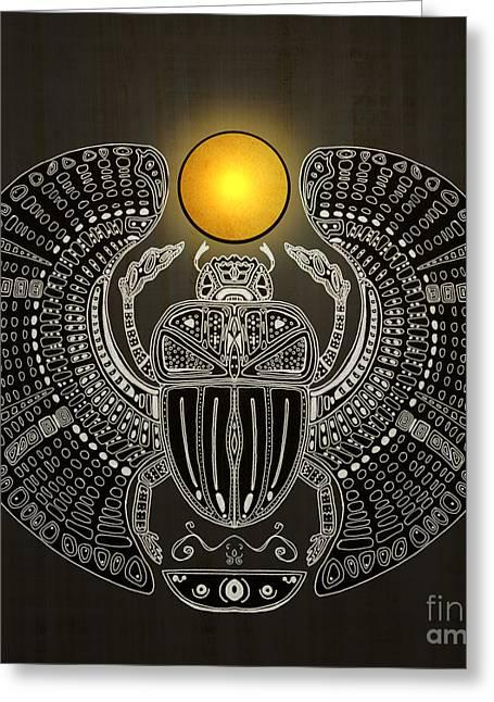 Sacred Artwork Greeting Cards - Sacred scarab Greeting Card by Barruf