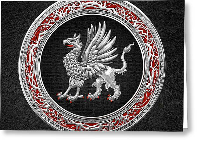Sacred Digital Art Greeting Cards - Sacred Silver Griffin on Black Leather Greeting Card by Serge Averbukh