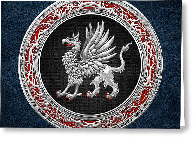 Sacred Digital Art Greeting Cards - Sacred Silver Griffin on Blue Leather Greeting Card by Serge Averbukh
