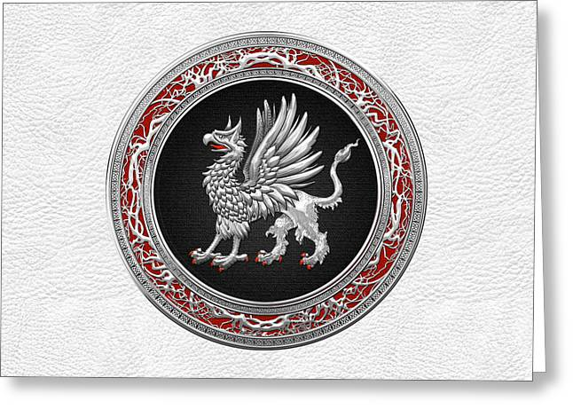 Sacred Digital Art Greeting Cards - Sacred Silver Griffin on White Leather Greeting Card by Serge Averbukh