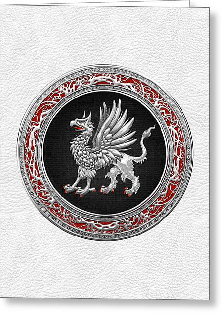 Sacred Silver Griffin On White Leather Greeting Card by Serge Averbukh