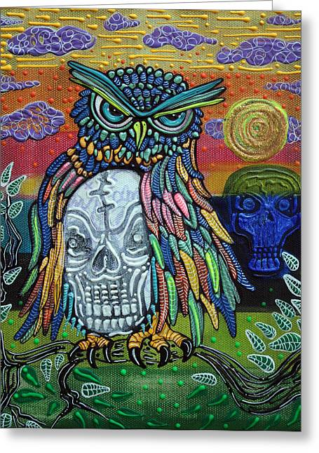 Rainbow Spots Greeting Cards - Sacred Skull Greeting Card by Laura Barbosa