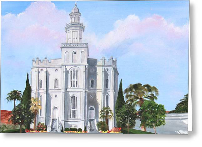The Landscape Listens Greeting Cards - Sacred Steps St George LDS Temple Greeting Card by Jane Autry