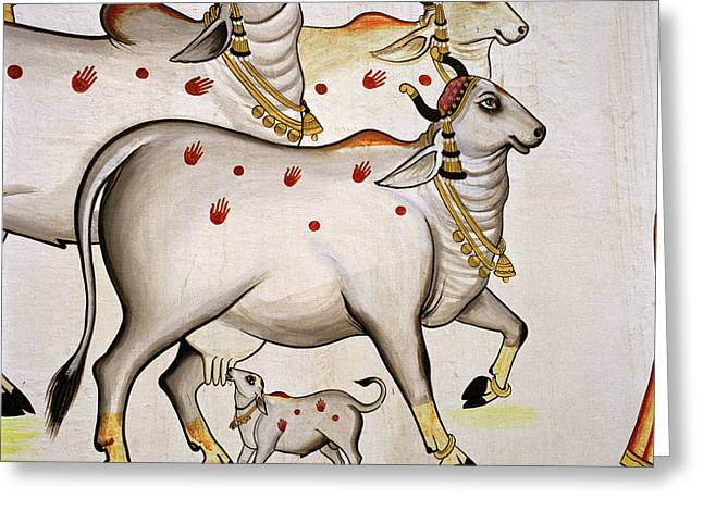 Sacred Bull Greeting Cards - Sacred India Greeting Card by Shaun Higson
