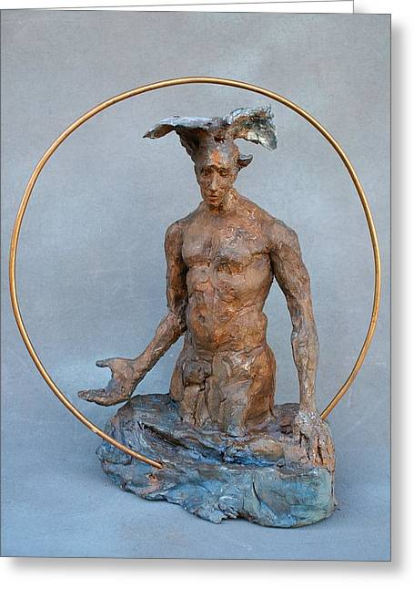 Religious Sculptures Greeting Cards - Sacred Water Greeting Card by Karen Swenholt