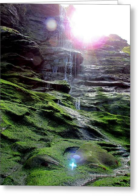 Tintagel Greeting Cards - Sacred Waterfall Greeting Card by Tracy Kelly