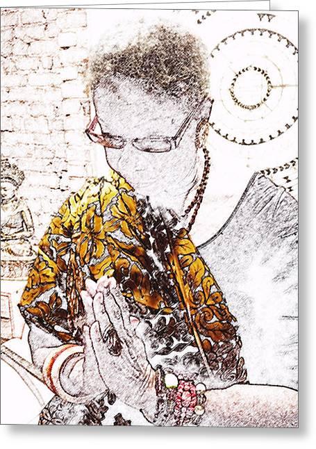 Black Woman Praying Greeting Cards - SacredSpace#1 Greeting Card by Karen Mason