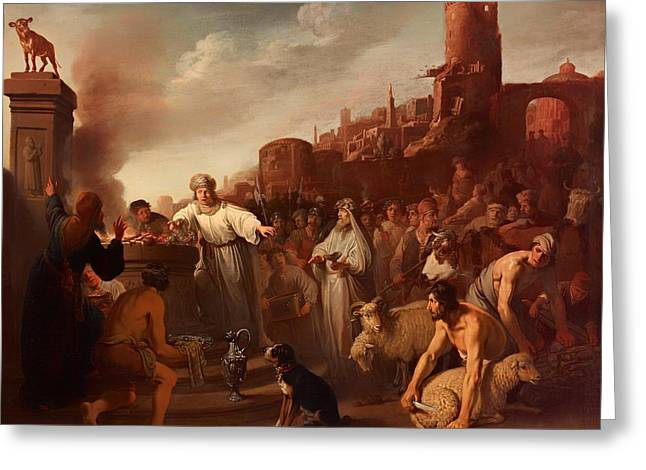 Religious work Paintings Greeting Cards - Sacrifice of Jereboam Greeting Card by Claes Moeyaert