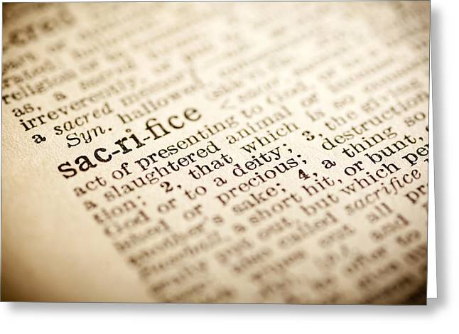 Description Greeting Cards - Sacrifice Greeting Card by Samuel Whitton